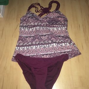 Other - Maroon two-piece swimsuit